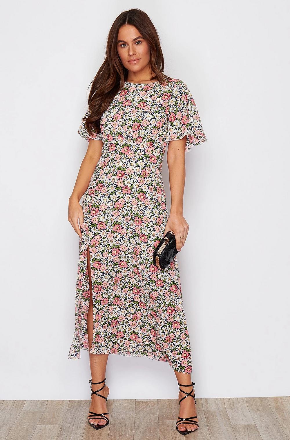 Georgina Summer Flowers Midi Dress with Slit