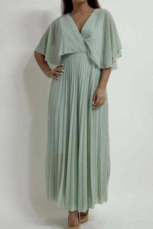 Orla Pleated Dress in Mint Green