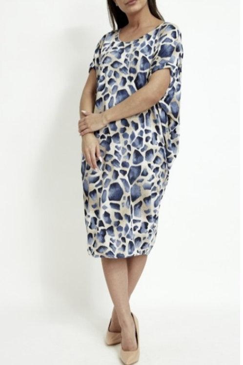 Petra Mini Dress in Blue Print