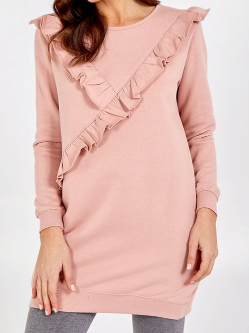 Fern Long Frill Sweatshirt with Pockets in Pink