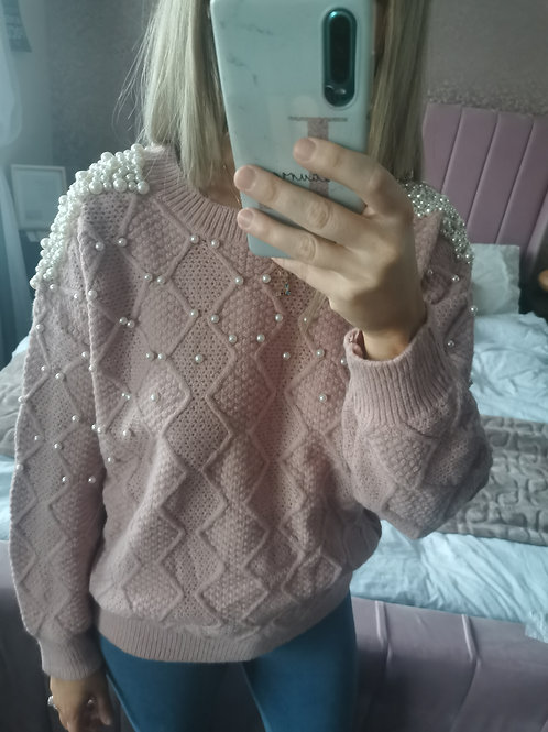 Molly Short Knit Pearl Jumper in Pink