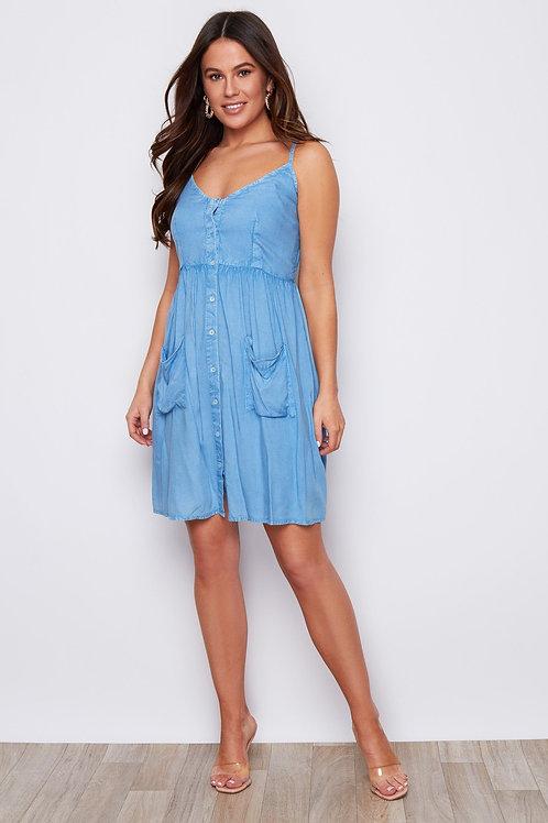 Elainie Denim Strap Summer Dress
