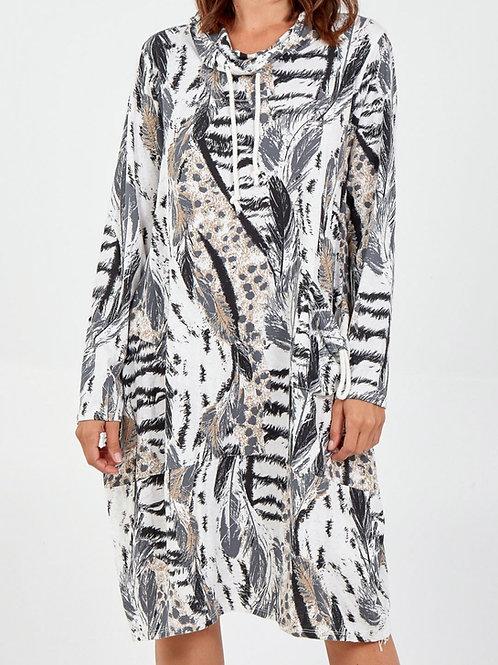 Faye Mixed Print Sweatshirt Dress in White