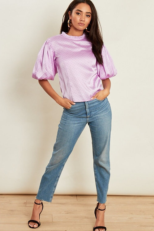 Georgina Lilac Spotted Top with Puff Sleeves