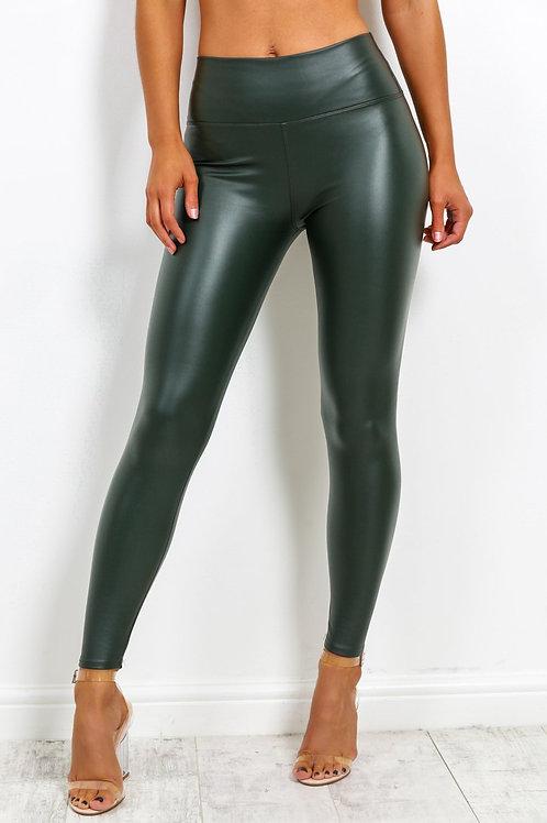 Leah Faux Leather Leggings In Khaki
