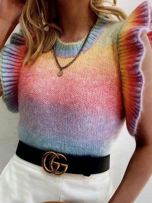 Rosie Rainbow Frill Short Sleeve Knit