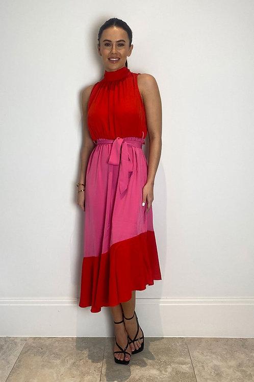 Rosa Tie Neck Pink & Red Midi Dress