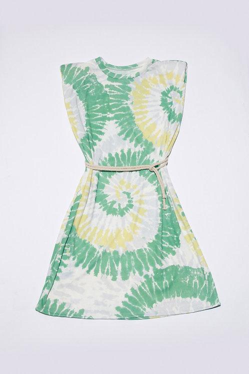 Charlie Tie-Dye Mini Dress in Green