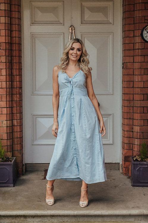Suzie Summer Tie Front Midi Dress in Blue