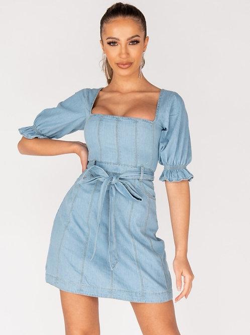 Veta Light Denim Belted Mini Dress