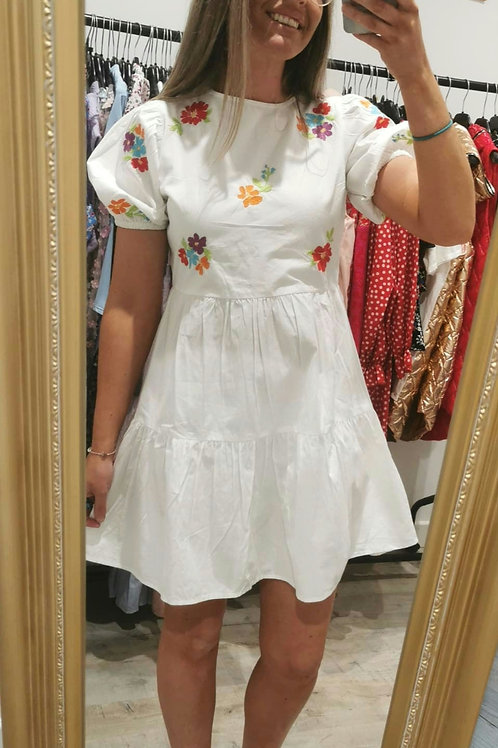 Kimberley White with Floral Embroidery mini dress
