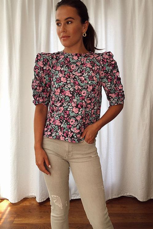 Louisa Frill Sleeves Floral Print Top