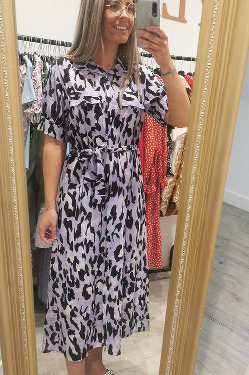 Elouise Animal Shirt Dress in Lilac
