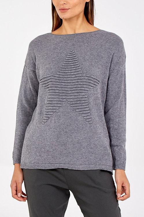 Lori  Star Grey Knit Jumper