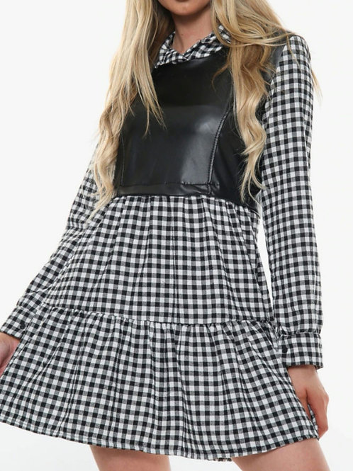 Emmie Faux Leather and Check Mini Dress