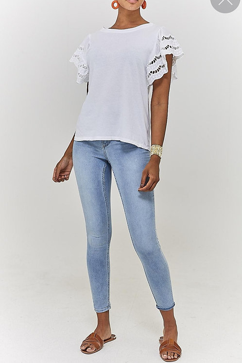 Sabrina Frill Sleeve T-shirt in White