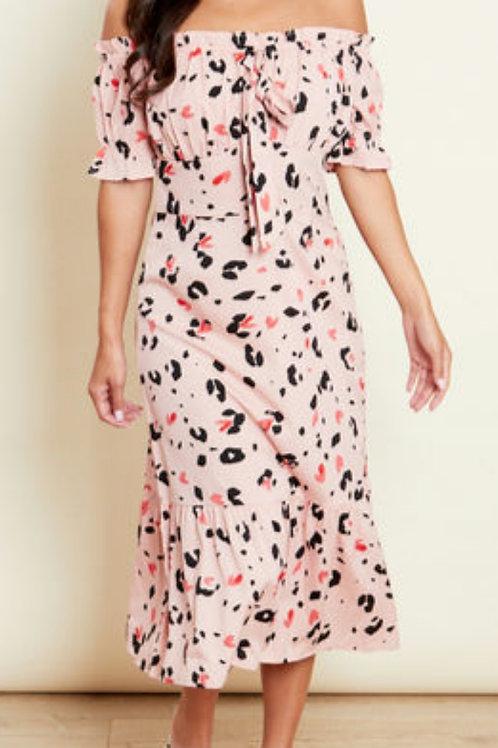 Birdie Pink Animal Bardot Midi Dress