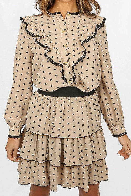 Jayne Blouse and Skirt Spot Two Piece in Beige