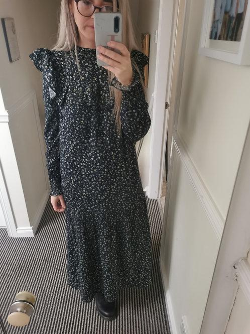Valentina black floral long dress