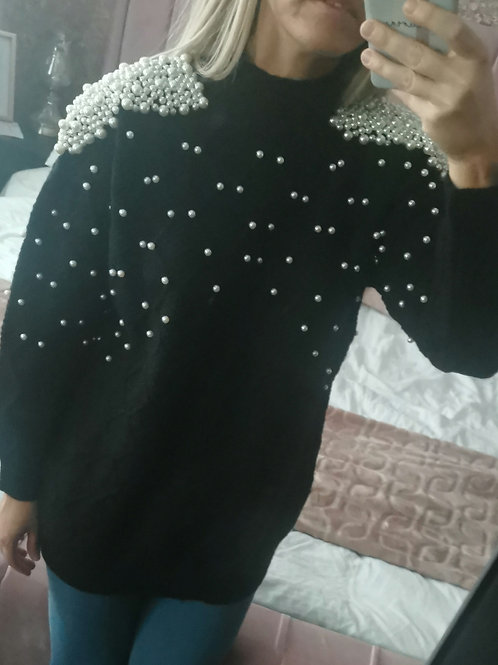 Molly Long Knit Pearl Jumper in Black