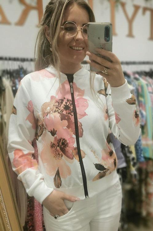 Nina Blush Floral Bomber Jacket