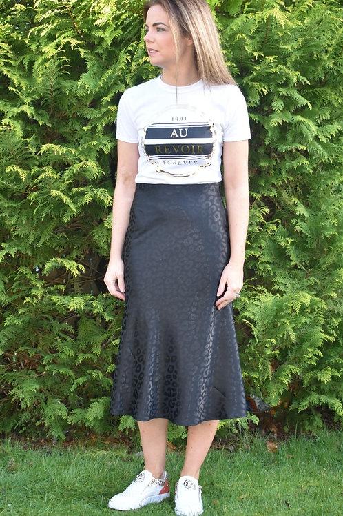 Queen of Leopard Satin Bias Midi Skirt