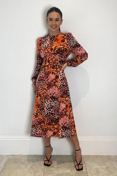 Suzie Orange Print Longsleeve Midi Dress
