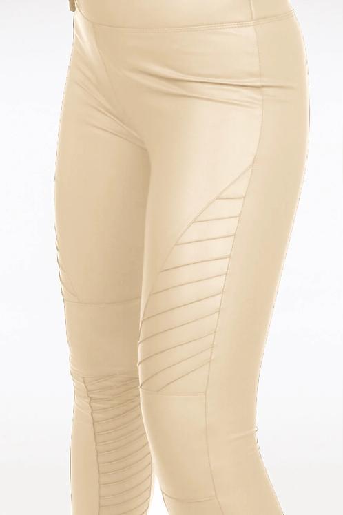 Kirsty Biker Faux Leather Leggings In Cream