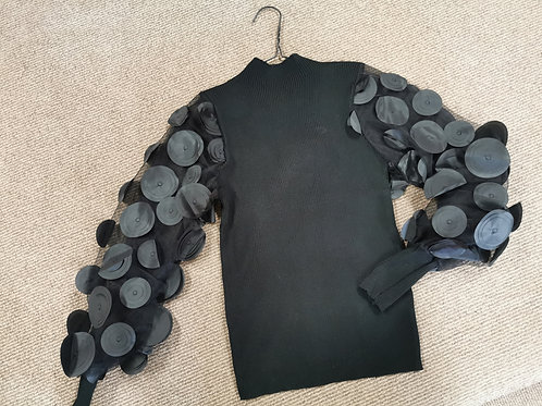 Arlo Mesh Sleeve with Circles Top in Black