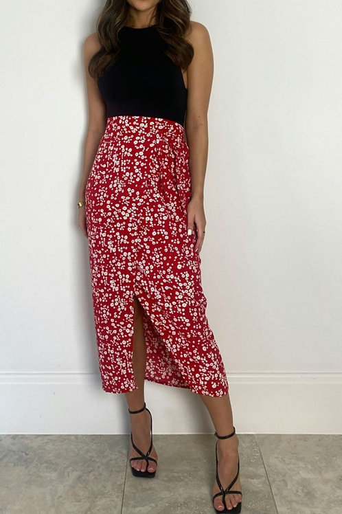 Una Red Floral Wrap Skirt with Underskirt