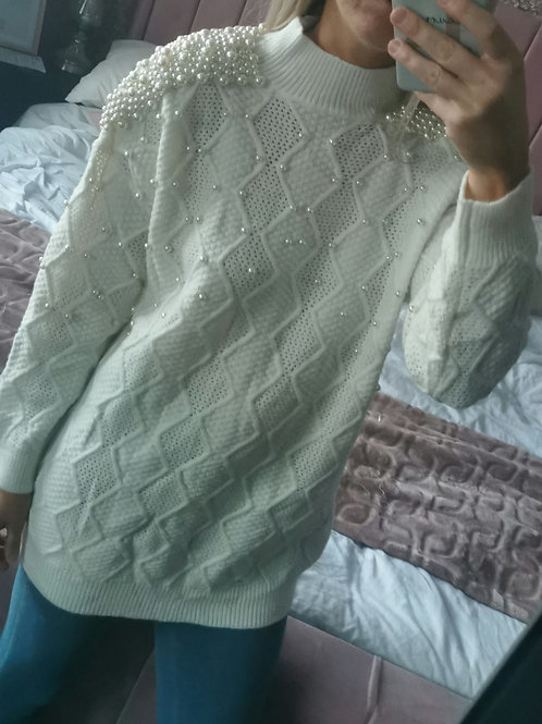 Molly Long Knit Pearl Jumper in Off White