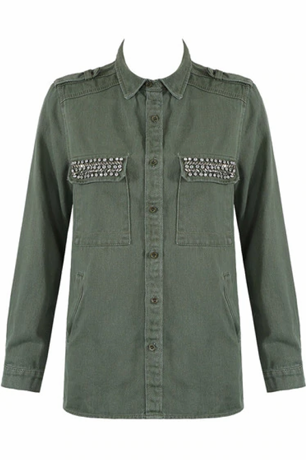 Selina Khaki Denim Jacket with embellishments