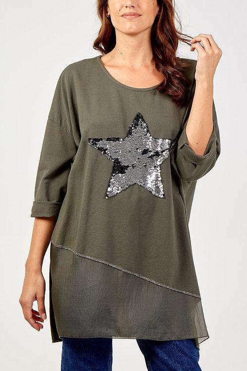 Helen Sequin Star Khaki Long Top