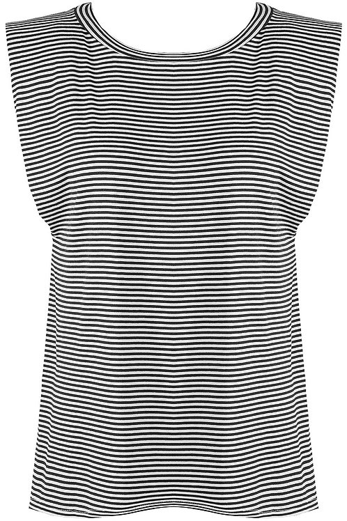 Fiona Padded Shoulders Striped Top in Black and White