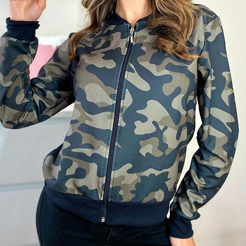 Nina Khaki Camoflage Bomber Jacket