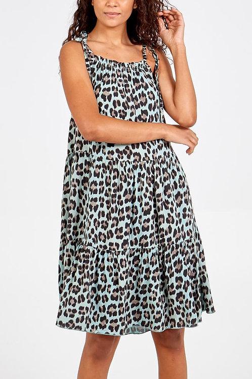 Elizabeth leopard print mini dress in Khaki
