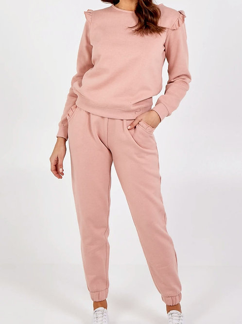 Pearl Pink Frill Two Piece Loungeset