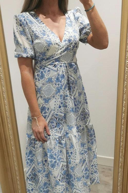 Elena Blue and White Printed Midi Dress