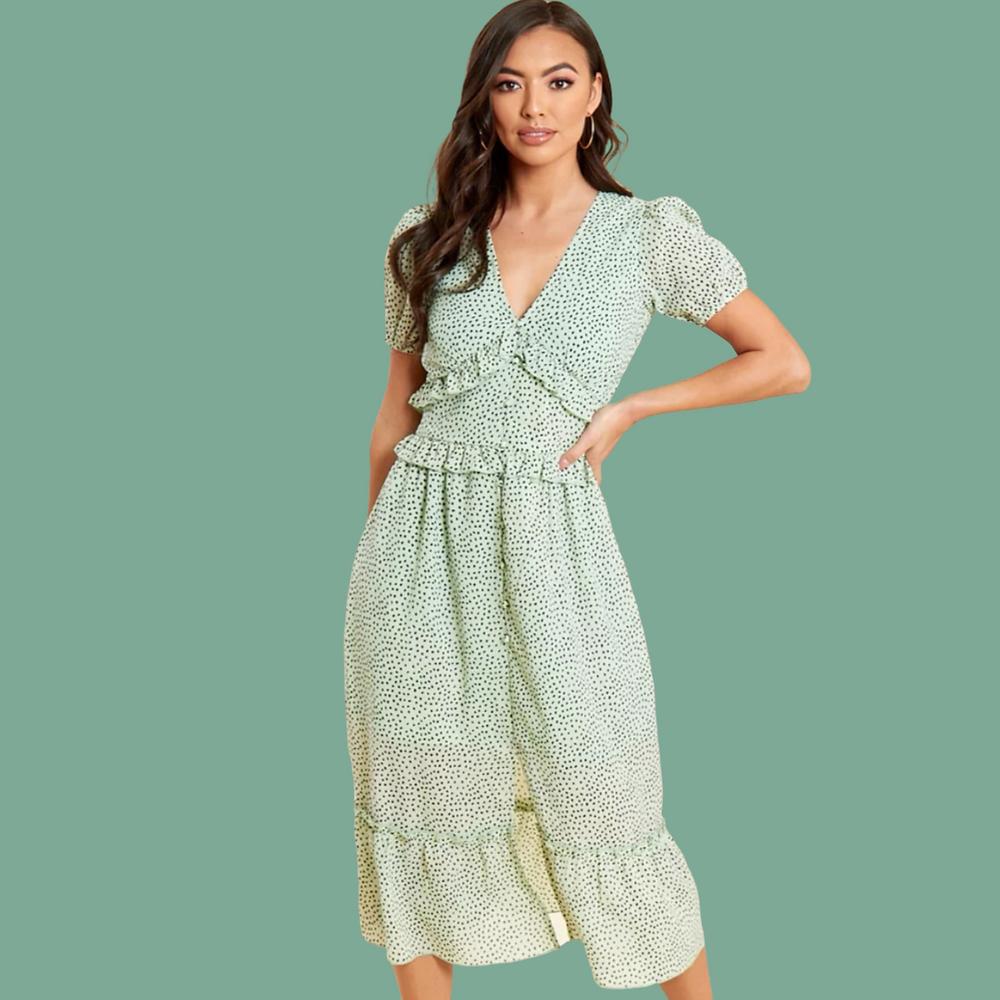 Paula Dotty Mint Frill Midi Dress At Style Rack