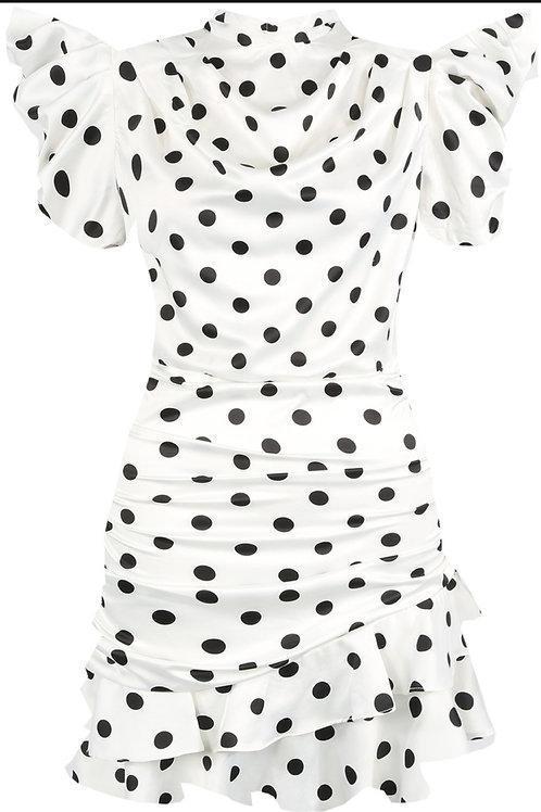 Dixi White with Black Spot Mini Dress