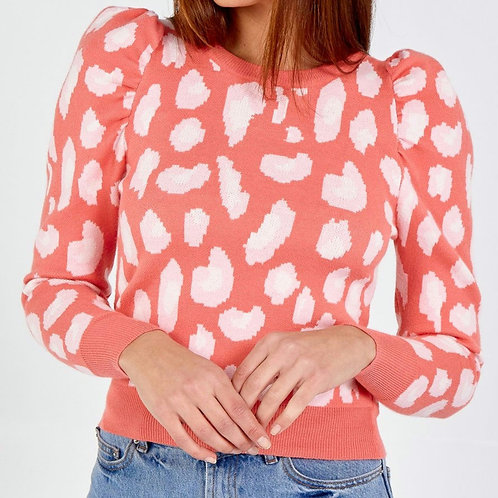 Sydney Coral Leopard Puff Sleeve Jumper