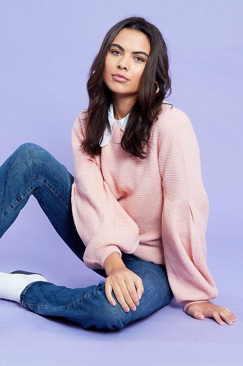 Bianca Pink Puff Sleeve Jumper (No Collar)