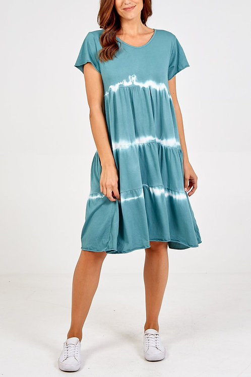 Lucie Tie-Dye Dress in Turquoise