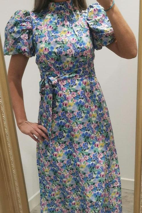 Lily Floral Puff Sleeve Midi Dress