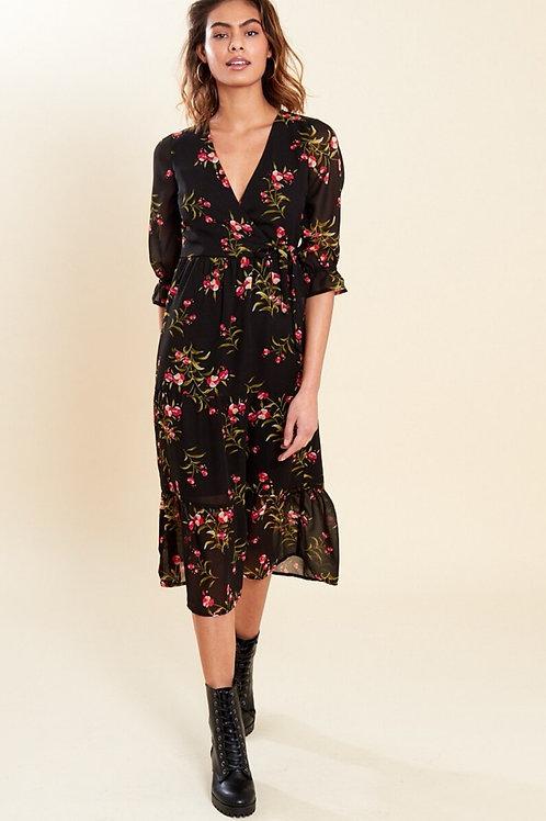 Kendal Black Floral Midi Dress