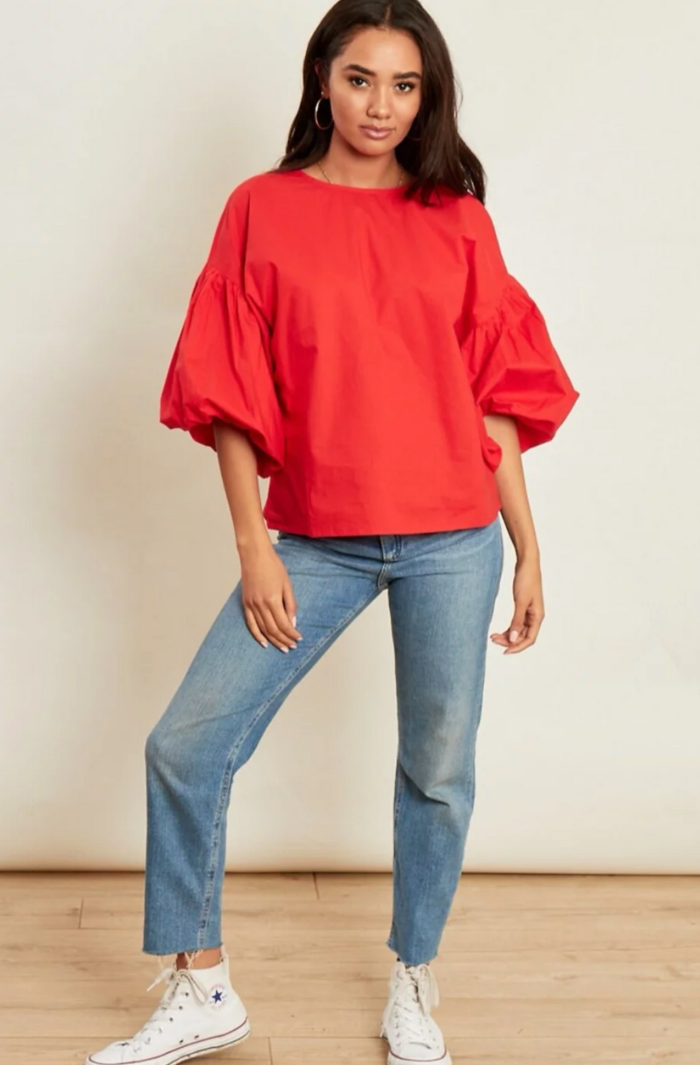 Harleigh Puff Sleeve Top in Red At Style Rack