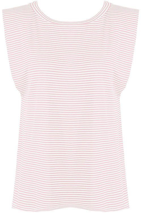 Fiona Padded Shoulders Striped Top in Pink and White