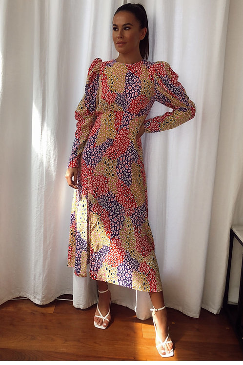 Abigail Multicoloured Longsleeve Midi Dress