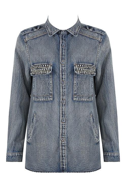 Selina Blue Denim Jacket with embellishments