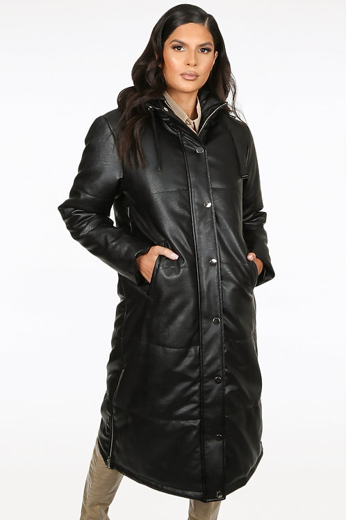 Pippa Black Faux Leather Quilted Coat